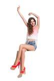 Summer Girl Waving Hands Royalty Free Stock Photography