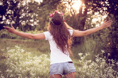 Summer girl wellcome nature Royalty Free Stock Images