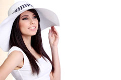 Summer girl in white cap royalty free stock photo