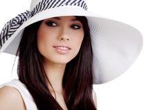 Summer girl in white cap Stock Images