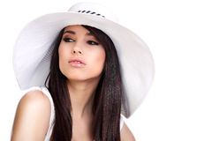 Summer girl in white cap Royalty Free Stock Image