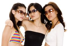 Summer Girls #1. Three attractive asian women in sunglasses Royalty Free Stock Photography