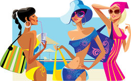 Summer girls. Vector illustration of three women on beach resort Royalty Free Stock Photography