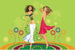 Summer girls. Vector image of two girls on a glade with flowers Stock Photography