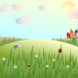 Summer, glade, lodges and insects. Vector illustration Stock Photos