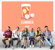 Summer Glass Lemonade Drink Graphic Concept Royalty Free Stock Photos