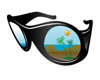 Summer glasses. Summer reflection over the  sunglasses Royalty Free Stock Photo
