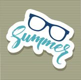 Summer glasses sticker icon, cartoon style. Summer glasses sticker icon. Cartoon of summer glasses sticker vector icon for web design isolated on white Royalty Free Stock Photography