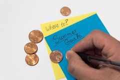 Summer goal savings. summer plans saving money. plan. sticky notes hand writing and pennies royalty free stock photo