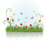 Summer grass. With butterflies on white background Stock Illustration