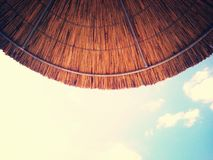 Summer in Greece (Under the Hot Sun). Sight to the Sky.Nice View Under the Umbrella Royalty Free Stock Images