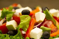 Summer Greek salad with olives and feta cheese Stock Photo