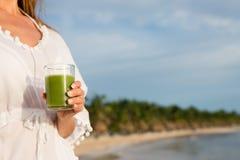 Summer green detox smoothie Royalty Free Stock Photo