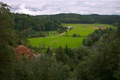 Summer, green field, forest. Rock, river Royalty Free Stock Photos