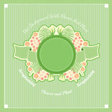 Summer green floral vector background. Plants in center - leaves of fern, flowers, berry under the round banner with ribbons Royalty Free Stock Images