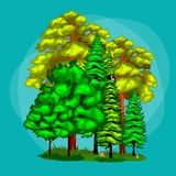 Summer Green Forest Tree and small animals in wild nature. Cartoon vector set trees in outdoor park. Outdoor trees in Stock Image