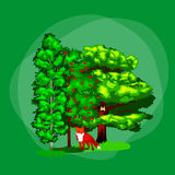 Summer Green Forest Tree and small animals in wild nature. Cartoon vector set trees in outdoor park. Outdoor trees in the park with branch, foliagles and leafs Royalty Free Stock Image