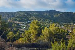 Ocean panorama landscape view in Ibiza Balearic Islands Soain. Summer green landscape overview the Mediterranean sea in Ibiza, Spain Stock Image