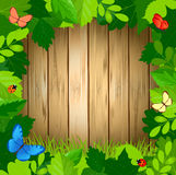 Summer green leaf frame with butterflies on wood surface. Vector illustration Stock Photos
