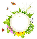 Summer green leaves, flowers, insects and retro label Stock Photo
