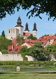 Summer Green Medieval Town. Lush green parks in the medieval town of Visby stock image