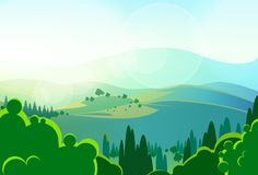 Summer green mountains tree valley landcape vector Royalty Free Stock Image