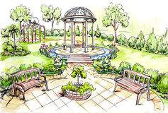 Summer green outdoors park for relax. Painted designer picture sketch of summer green outdoors park for relax. Sketch made by colored pencils stock illustration