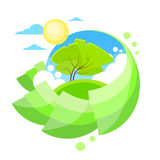 Summer Green Tree Sun Sky Circle Banner Flat Royalty Free Stock Photo