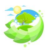 Summer Green Tree Sun Sky Circle Banner Flat Royalty Free Stock Photo