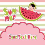 Summer greeting card with cute girl and watermelon on striped background  cartoon Stock Image