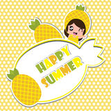 Summer greeting card with cute pineapple girl frame on polka dot background  cartoon for summer postcard Stock Photo
