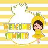 Summer greeting card with cute pineapple girl frame on striped background  cartoon for summer postcard Stock Photo