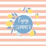 Summer greeting card with fresh lemons and lettering. Enjoy summer. Vector card design stock illustration