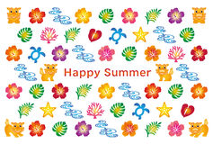 Summer greeting card with Japanese Bingata icons. Royalty Free Stock Images