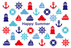 Summer greeting card. marine icons. Stock Images