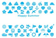 Greeting card with summer icons. Stock Photography