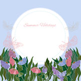 Summer greeting floral card. Background with floral bouquet.Bunch of flower on summer holidays stock illustration