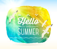 Summer greeting and flying seagulls Royalty Free Stock Image