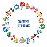 Summer greeting with Japanese summer elements Royalty Free Stock Image