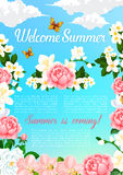 Summer greeting vector poster of blooming flowers. Welcome Summer floral poster design of flowers and blooming bouquets. Vector bunch of jasmine or orchid stock illustration