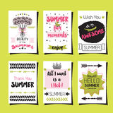 Summer greetings template cards set royalty free illustration