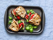 Summer grilled vegetables sandwiches. Eggplant, bell peppers, ciabatta, yogurt sauce, basil sandwiches in baking sheet on blue bac. Kground, top view. Vegetarian royalty free stock images