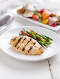 Summer grilling time - grilled chicken with vegetables. Stock Images
