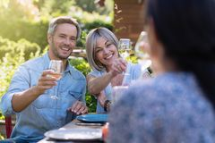 Summer. Group of friends gathered around a table in the garden. In summer. Group of friends gathered around a table in the garden to share a meal. Three people Stock Image