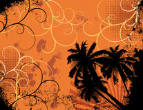 Summer Grunge. Grunge background with palm trees, sun rays and swirls vector illustration