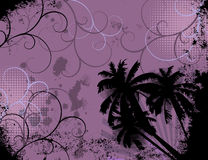 Summer Grunge. Grunge background with palm trees, sun rays and swirls Royalty Free Stock Image