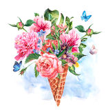 Summer hand drawing watercolor floral greeting card Stock Photo