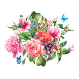 Summer hand drawing watercolor floral greeting card Royalty Free Stock Image