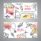Summer hand drawn banner. Beach doodle elements. Vacation and trevel to the sea Sketch Vector vector illustration