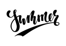 Summer. Hand drawn calligraphy and brush pen lettering. design for holiday greeting card and invitation of seasonal summer holiday Stock Photo